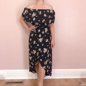 Stunning Wrap Navy Floral Maxi Dress